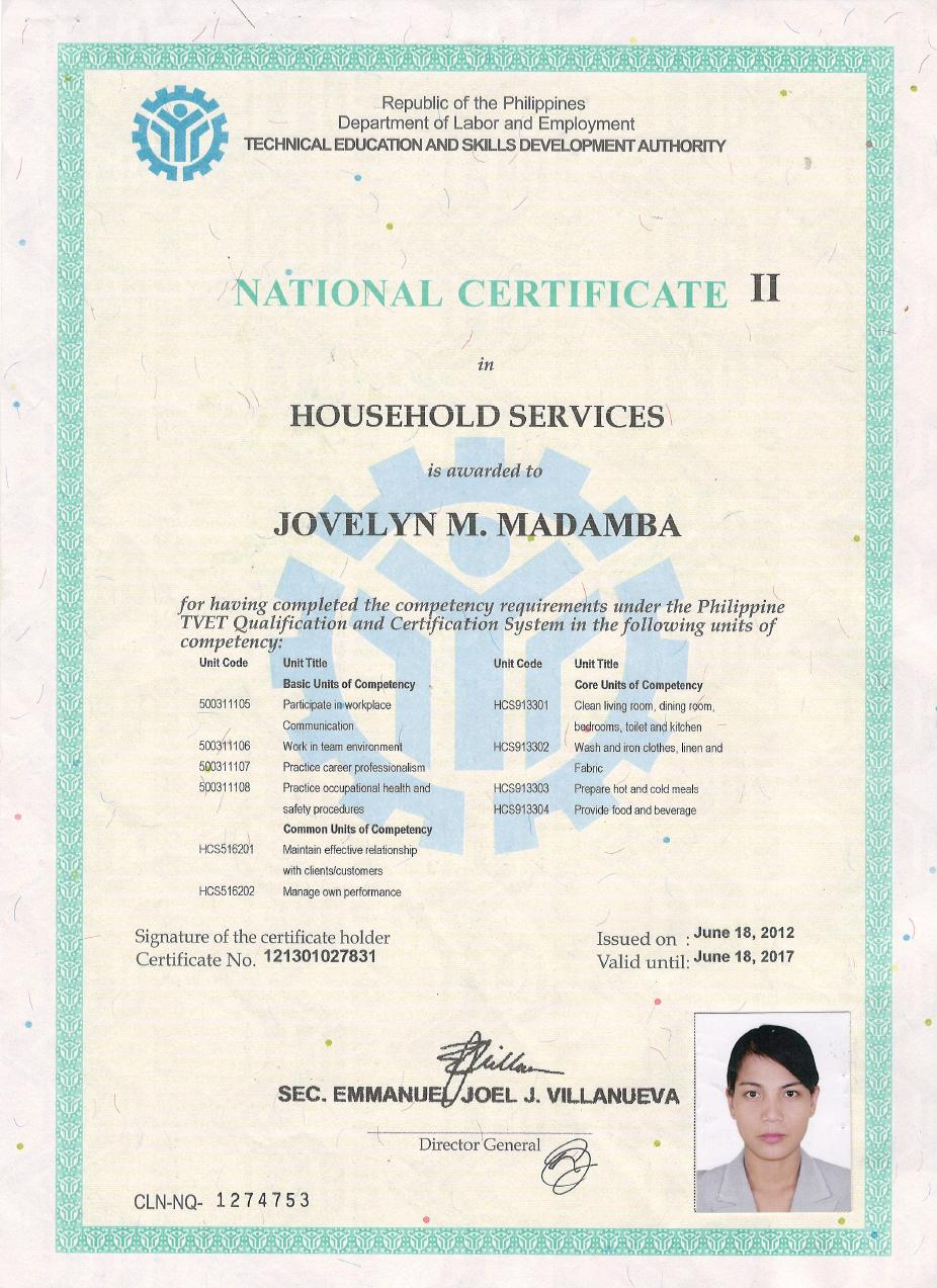 License Certificate Hrr Maid Agency